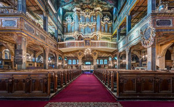 Świdnica, kościół ewangelicki (Pokoju), poł. XVII, XVIII - wnętrze kościoła w dziennym świetle