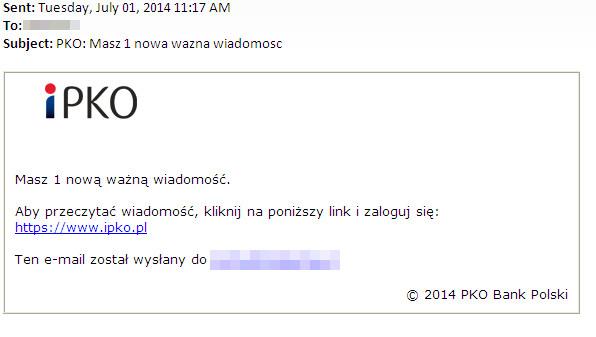 Wiadomość phishingowa przechwycona przez laboratorium antywirusowe ESET