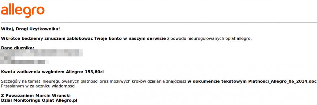 Przykładowy e-mail rzekomo od Allegro