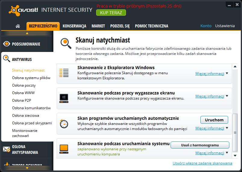 avast! Internet Security - niestandardowe tryby skanowania