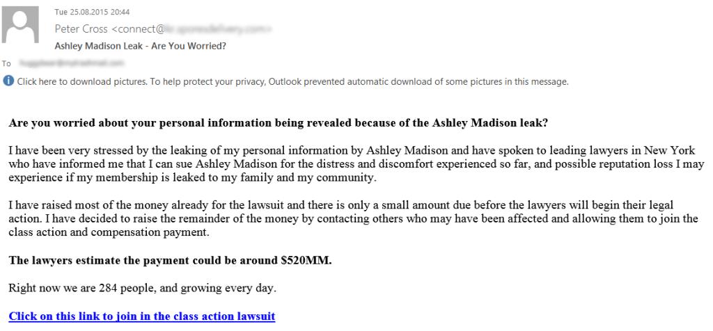 Fałszywy e-mail dot. wycieku z Ashley Madison