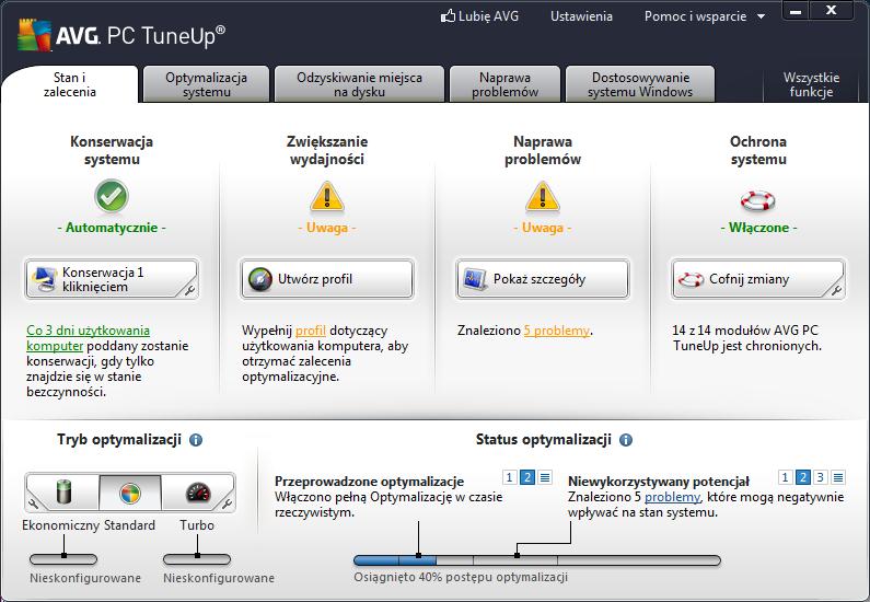 AVG PC TuneUp - interfejs użytkownika