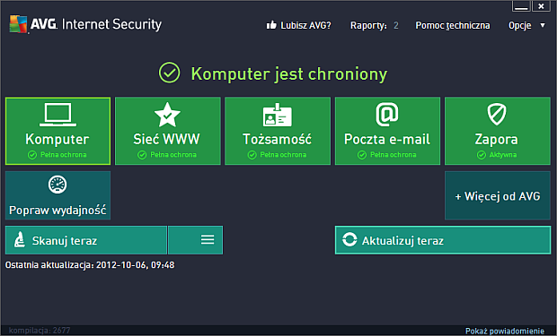 AVG Internet Security 2013 - interfejs programu