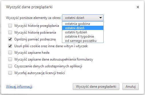 Usuwanie ciasteczek w Chrome - rys. 2