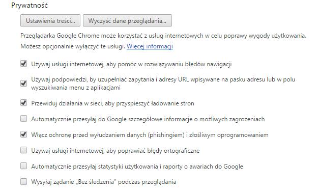 Włączanie filtrów antyphishingowych w przeglądarce Google Chrome - rys. 3
