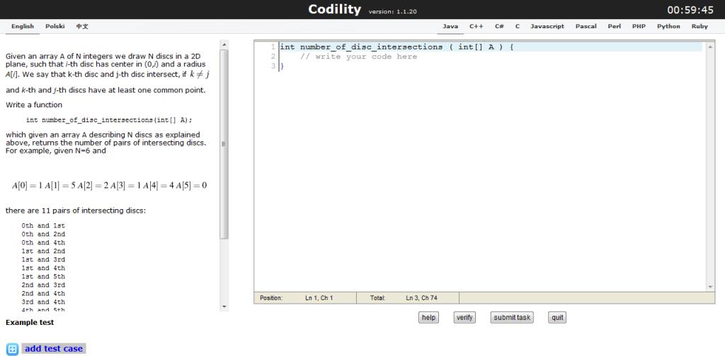 Przykładowy test dla programistów Codility, oferujący certyfikat