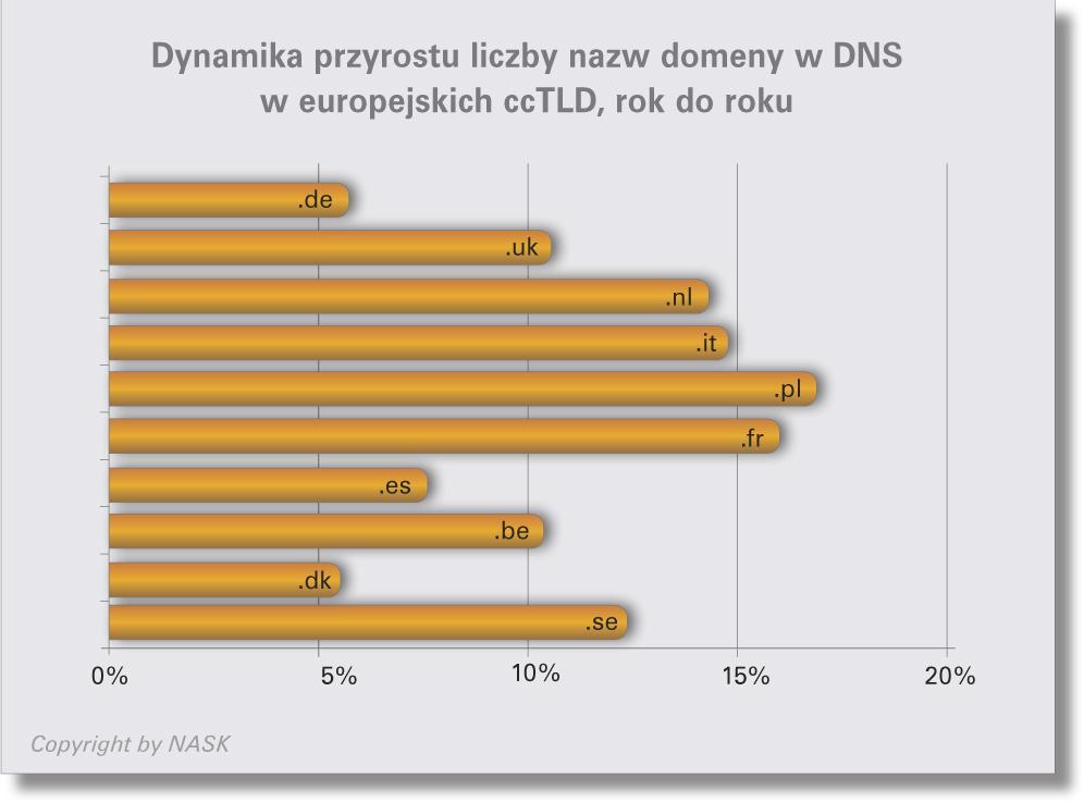 Dynamika przyrostu liczby nazw domeny w DNS
