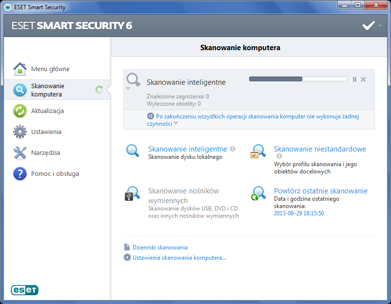 ESET Smart Security - skanowanie komputera