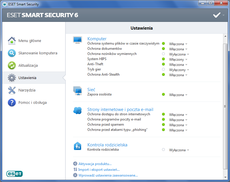 ESET Smart Security - ustawienia