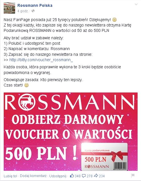 Informacja o konkursie na fałszywym fanpage'u