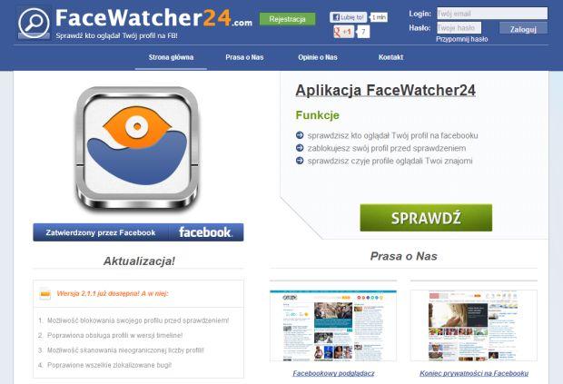 FaceWatcher24 kusi możliwością sprawdzenia, kto oglądał nasz profil na Facebooku