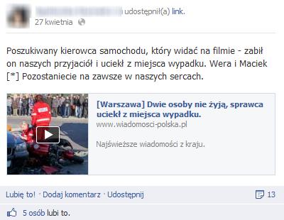 Scam na Facebooku informujący o tragicznym wypadku