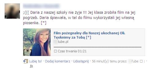 Scam na Facebooku informujący o śmierci uczennicy