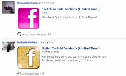 Scam na Facebooku zachęcający do zmiany jego kolorystyki