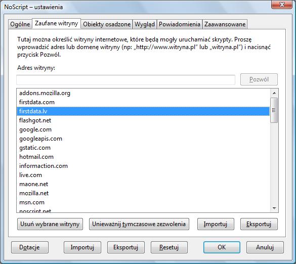 NoScript: Zarządzanie tzw. białą listą (zaufanymi witrynami)