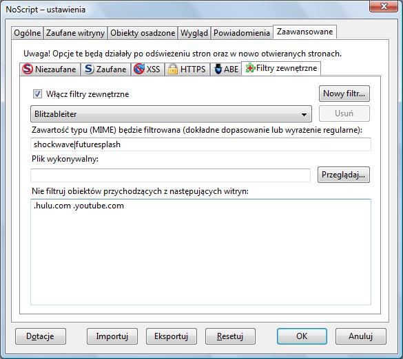 NoScript: Włączanie filtrów zewnętrznych