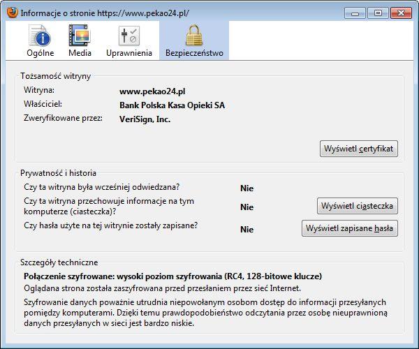 Sprawdzanie certyfikatu bezpieczeństwa w Firefoksie (rys. 2)