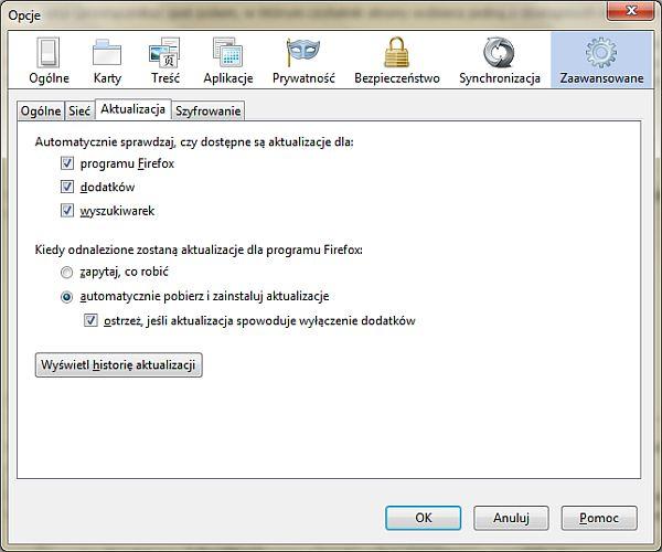 Włączanie automatycznych aktualizacji w przeglądarce Firefox 4.0