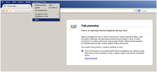 Włączanie filtrów antyphishingowych w przeglądarce Mozilla Firefox - rys. 1