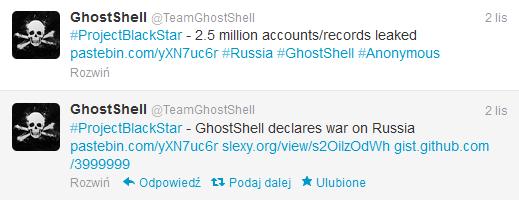 Posty grupy GhostShell na Twitterze