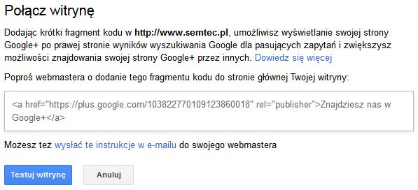 Integracja Google+ ze stroną WWW - rys. 1
