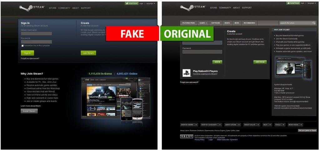 Fałszywa i prawdziwa strona popularnej wśród graczy platformy Steam