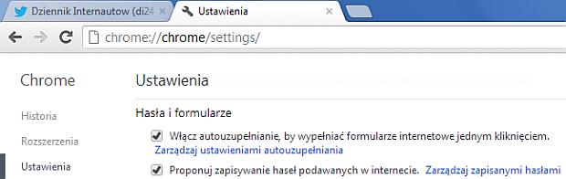 Zarządzanie hasłami w Chrome