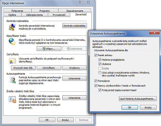 Zarządzanie hasłami w IE9