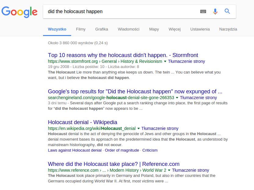Kłamstwo oświęcimskie w Google