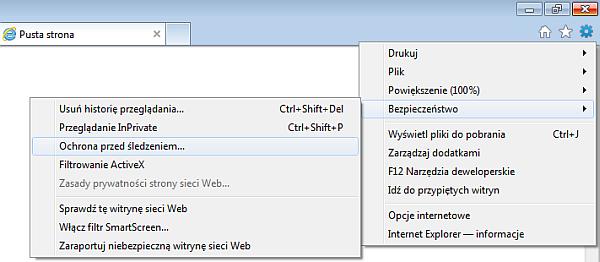 Ochrona przed śledzeniem w IE9 - rys. 1