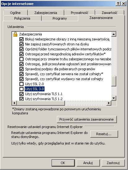 Zmiana ustawień w przeglądarce Internet Explorer