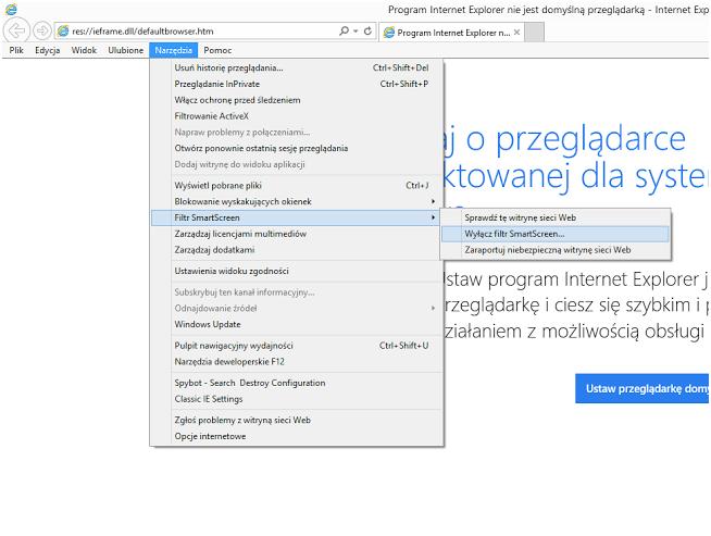Włączanie filtrów antyphishingowych w przeglądarce Internet Explorer