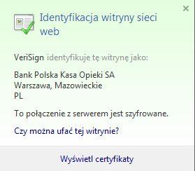 Sprawdzanie certyfikatu bezpieczeństwa w Internet Explorerze (rys. 1)