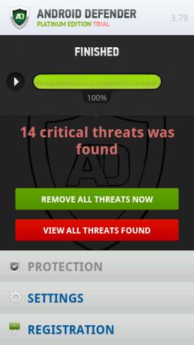 Zrzut ekranu aplikacji FakeAV na Androidzie
