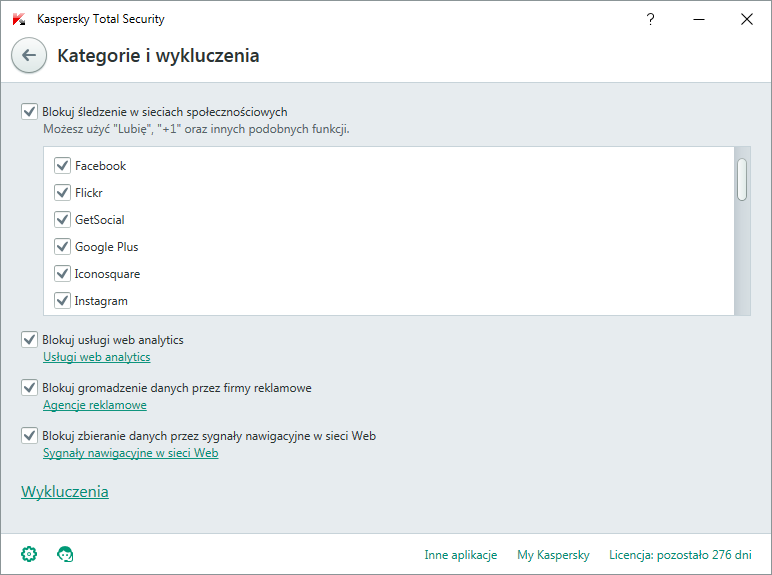 Kaspersky Total Security - Surfowanie incognito