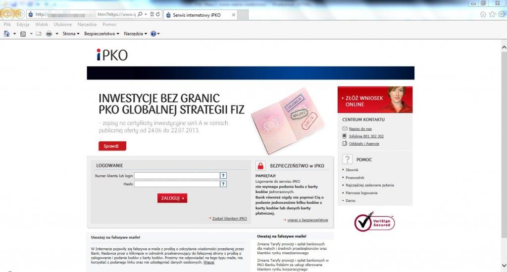 Strona phishingowa przypominająca do złudzenia oryginalny serwis iPKO