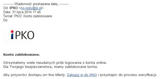Fałszywy e-mail rzekomo od PKO