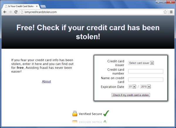 Strona pozwalająca rzekomo sprawdzić, czy numer naszej karty kredytowej został wykradziony