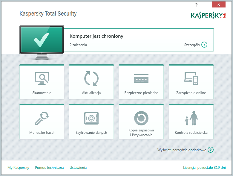 Kaspersky Total Security - główne okno programu