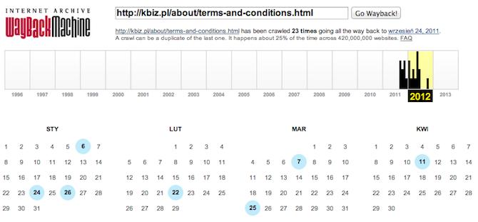 Ile razy był zmieniany regulamin kbiz.pl