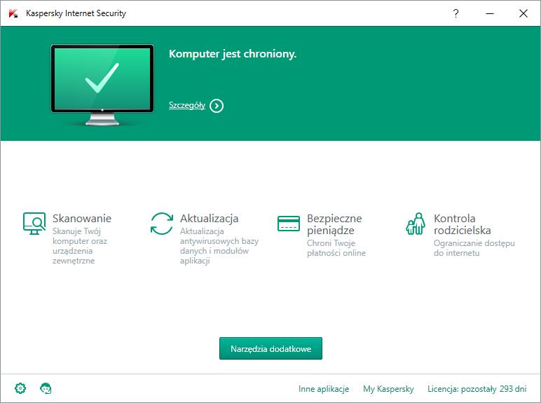 Kaspersky Internet Security - okno główne programu