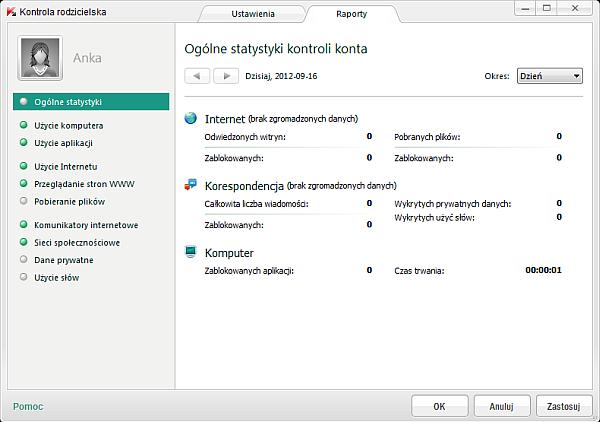 Kaspersky Internet Security 2013 - moduł Kontrola rodzicielska