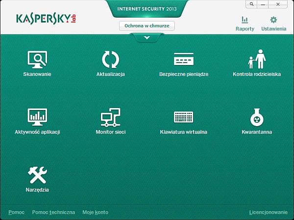 Kaspersky Internet Security 2013 - dostępne opcje