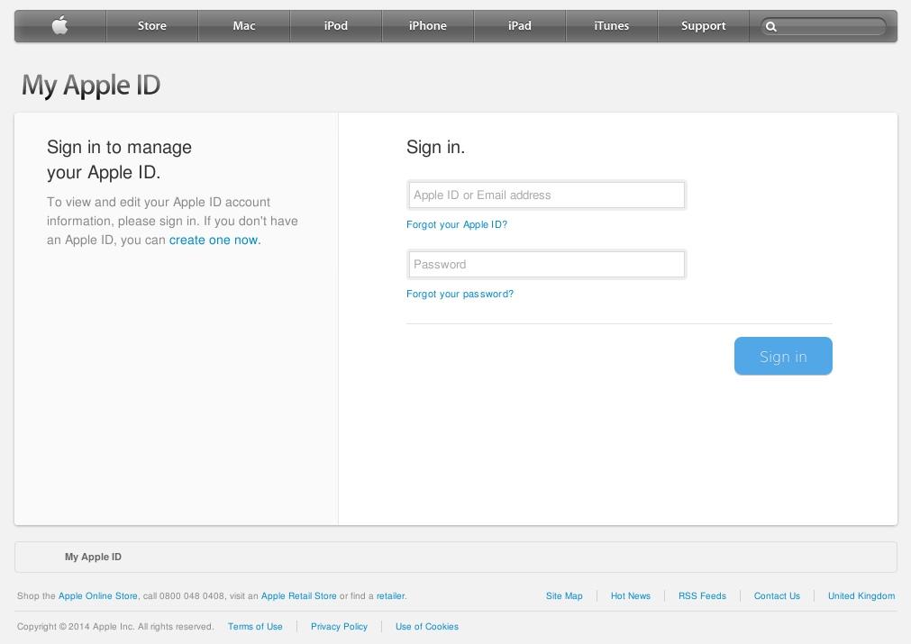 Sfałszowana strona logowania, na której cyberprzestępcy nakłaniają użytkowników do podania identyfikatora Apple ID oraz hasła