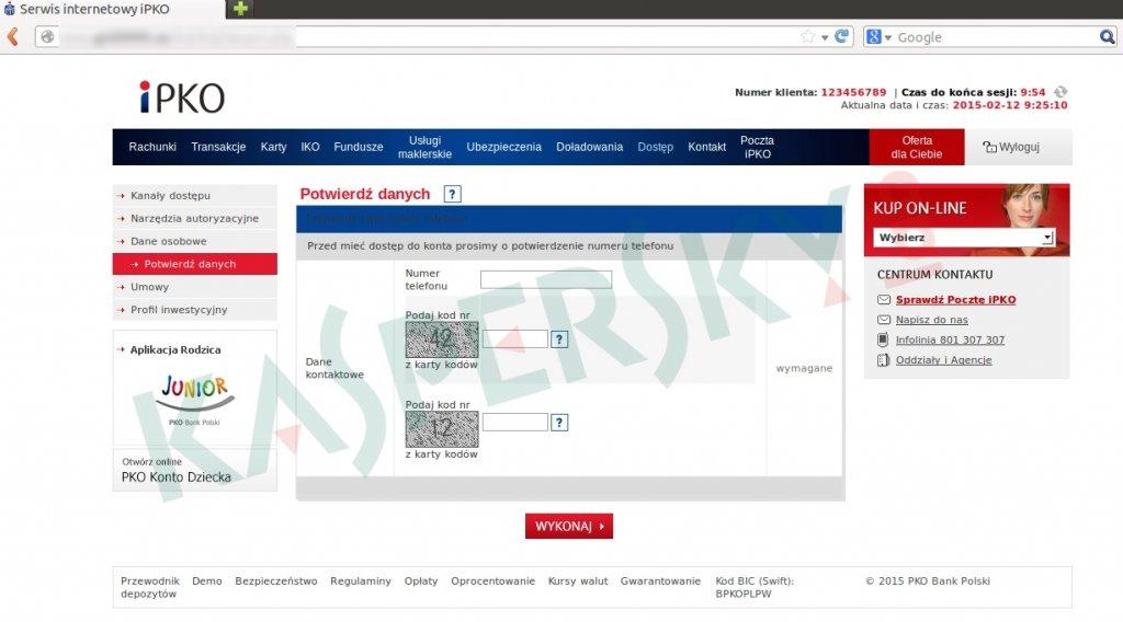 Strona zachęcająca do podania kodów jednorazowych autoryzujących transakcje bankowe