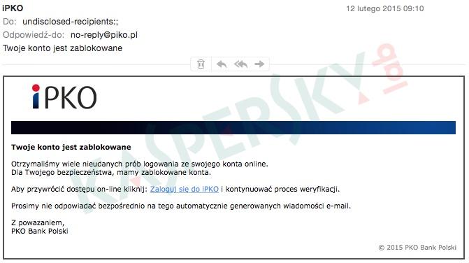 Wiadomość docierająca do użytkowników w ramach nowego ataku phishingowego