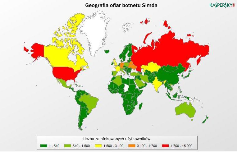 Geografia ofiar botnetu Simda