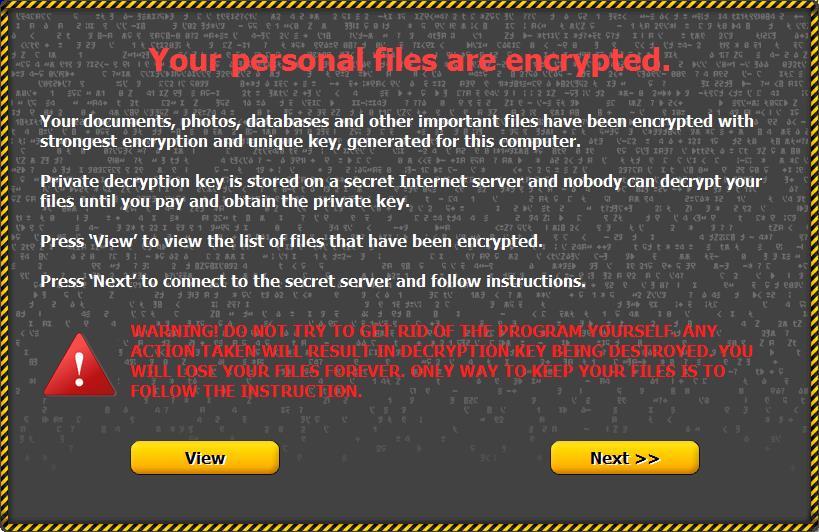 Jeden z komunikatów wyświetlanych przez Onion na zainfekowanym komputerze