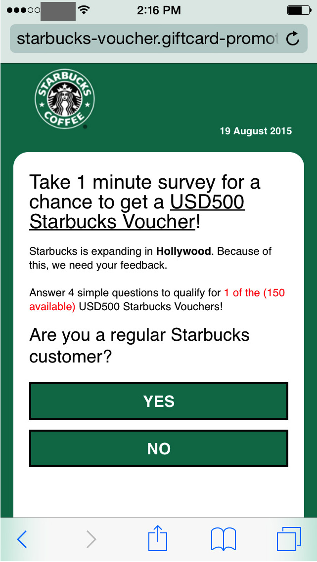 Cyberoszuści wykorzystują wizerunek Starbucksa