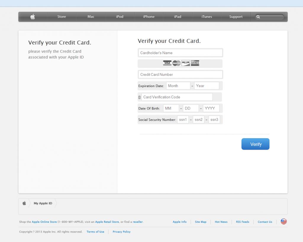 Fałszywa strona, która próbuje ukraść szczegóły karty kredytowej